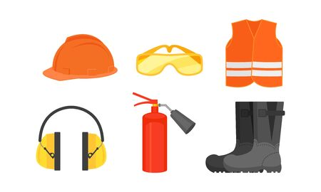 Firefighter And Builder Protective Workwear Elements Vector Illustration Set Isolated On White Background