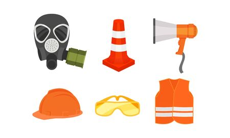 Personal Protective Equipment And Tools For Builders And Firefighters Vector Illustration Set Isolated On White Background Ilustração