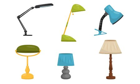 Different types of table lamps. Vector illustration on a white background. Stock Illustratie