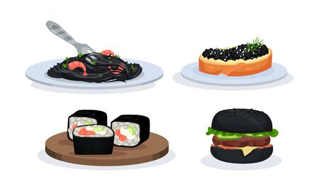 Set With Snacks With Components Of Black Color Vector Illustration 일러스트