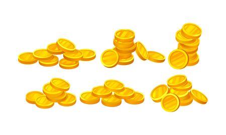 Set Of Golden Coins In Different Shape Vector Illustration