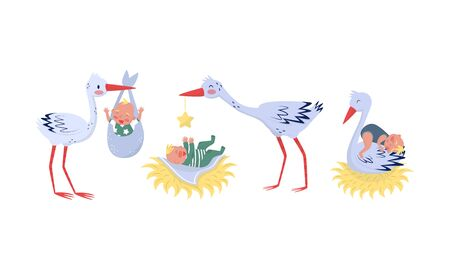 Cute Stork Delivers Newborn Babies Home Vector Illustration Set Isolated On White Background