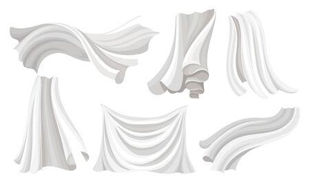 Set of pieces of wavy white fabric. Vector illustration. Standard-Bild - 133682396