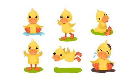 Cute Yellow Ducks In Different Poses Vector Illustration Set Cartoon Character