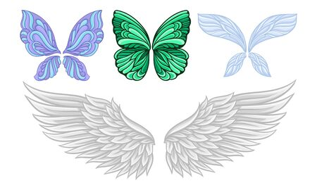Set of wings of different butterflies and a swan. Vector illustration.