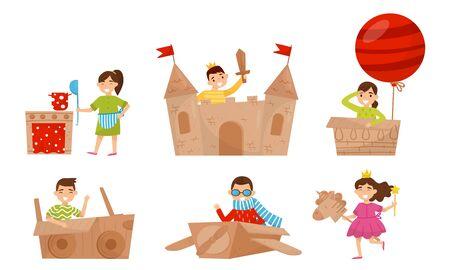 Children play with cardboard items. Vector illustration. Foto de archivo - 133682371