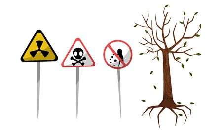 Hazard Warning Signs, Radiation And Environmental Pollution Vector Illustration Set Isolated On White Background Banque d'images - 133682373