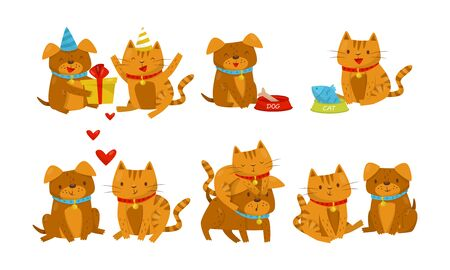 Set With Friendship Between Dogs And Cats Concept Vector Illustration Cartoon Character Иллюстрация