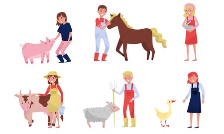 Agricultural Concept. Farmers Caring For Animals Vector Illustration Set Isolated On White Background Foto de archivo - 133682388