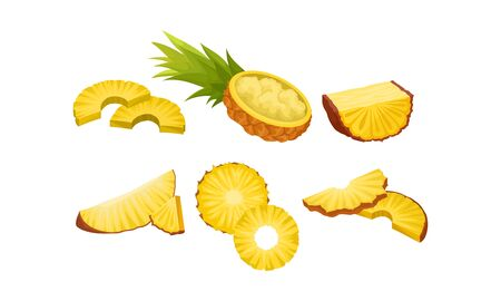 Pineapple Cut In Different Shapes. Mashed Fruit Vector Illustration Set Isolated On White Background Ilustração