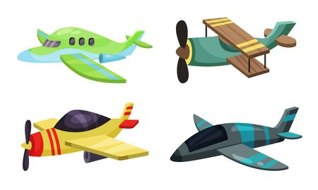 Set of cartoon airplanes with propeller and old-fashioned wings. Vector illustration on a white background.