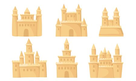 Sand castles with towers and ramparts. Vector illustration on a white background.