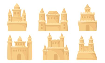 Set of sand castles with towers. Vector illustration on a white background.