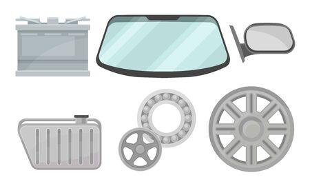 Set of auto parts. Battery, radiator, windshield, side mirror, bearing, rim. Vector illustration on a white background. Ilustração