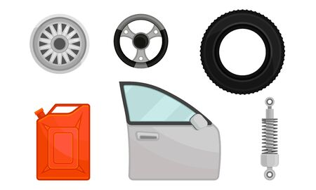 Car door, tire, rim, canister, shock absorber. Vector illustration on a white background.