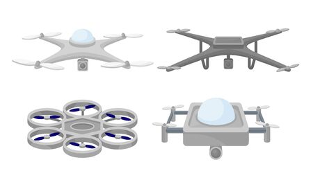Set of quadrocopters with a video camera. Vector illustration on a white background.