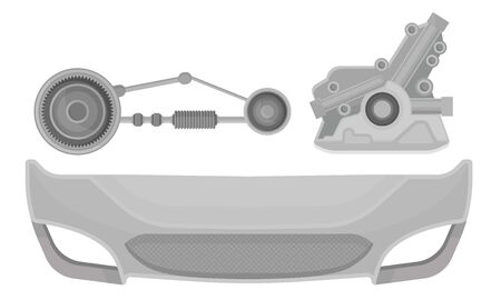 Hood and bumper for the car, engine and shock absorber. Vector illustration on a white background.
