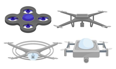 Set of gray quadrocopters with a video camera. Vector illustration on a white background.