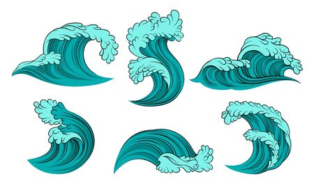 Set of turquoise sea waves with light blue foam. Vector illustration on a white background.