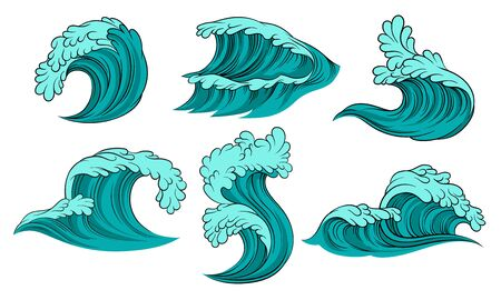 Set of blue sea waves with foam. Vector illustration on a white background.