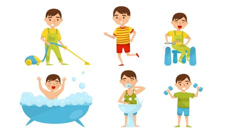 Boy does exercises, brushes his teeth, bathes, runs, vacuums and has breakfast. Vector illustration.