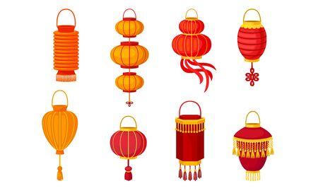 Set of traditional chinese lanterns of different shapes and sizes. Vector illustration on a white background.