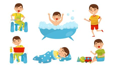 Boy runs, does exercises, has breakfast, in the bath, reads, sleeps, plays. Vector illustration on a white background.