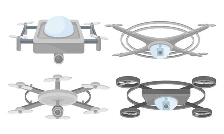 Set of drones with a video camera. Vector illustration on a white background. Ilustracja