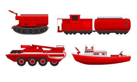Fire truck, train, ship and tracked vehicles to extinguish fires. Vector illustration on a white background.