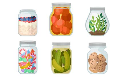 Closed glass jars with canned tomatoes, cucumbers, sweets, pudding, cookies and green algae. Vector illustration on a white background.