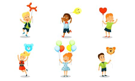 Boys and girls with balloons of different colors in the form of a ball, bear, dog and tiger. Vector illustration on a white background.