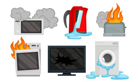 Broken microwave, electric kettle, toaster, oven, TV, washing machine. Vector illustration on a white background.