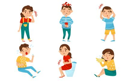 Teenagers boys and girls caught a cold, stomach ache, tooth, head, runny nose. Vector illustration on a white background.