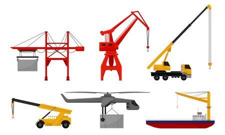 Conjunto de grúas estacionarias y móviles con cargas. Ilustración de vector sobre fondo blanco.