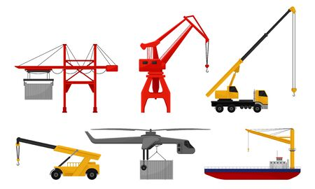 Set of stationary and mobile cranes with loads. Vector illustration on a white background.
