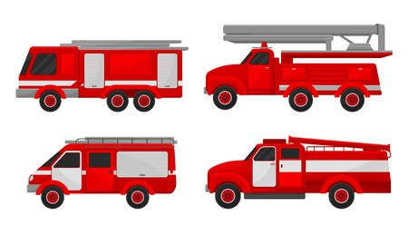 Set of red fire engines with stairs, hoses and pumps. Vector illustration on a white background. Çizim