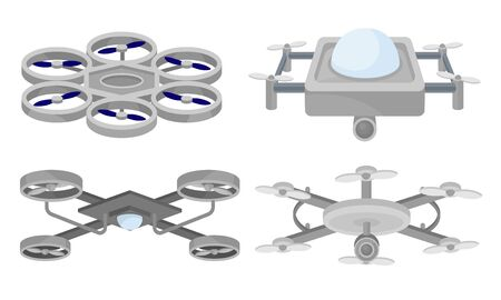 Set of gray drones with a video camera. Vector illustration on a white background. Ilustracja