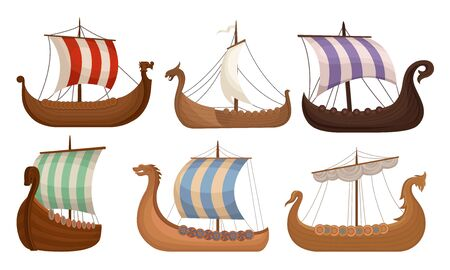 Wooden Viking ships with striped sails. Vector illustration on a white background.