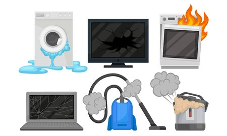 Broken oven, TV, washing machine, vacuum cleaner, slow cooker, laptop. Vector illustration on a white background.