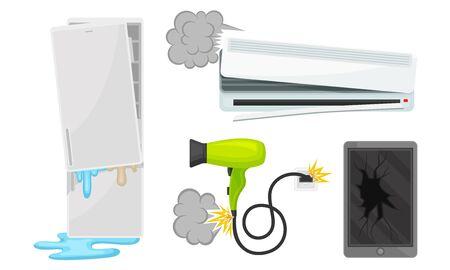 Set kapotte koelkast, airconditioning, haardroger en tablet. Vectorillustratie op een witte achtergrond.
