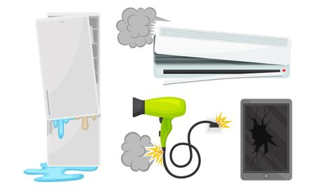 Set of broken fridge, air conditioning, hairdryer and tablet. Vector illustration on a white background.