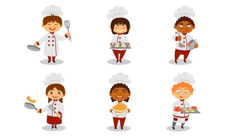 Children in the form of cooks with dishes and cooked food. Vector illustration.