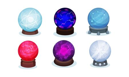 Set of magic balls. Vector illustration on a white background.