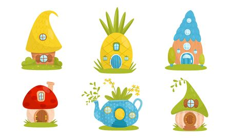 Set of small houses for gnomes. Vector illustration.