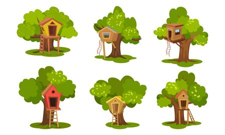 Set of different tree houses. Vector illustration.
