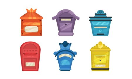 Set of colorful mailboxes. Vector illustration on a white background.
