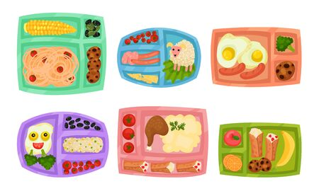 Lunch Box with Different Food Inside Vector Set Illustration
