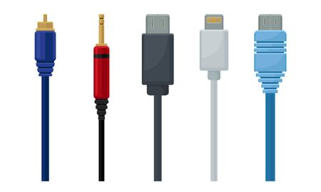 Colorful USB Cables Vector Set. Electric Cords Collection