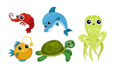 Friendly Sea Animals Vector Set For Kids Illustrated Book