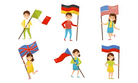 Boys and girls hold flags of different countries. Vector illustration.